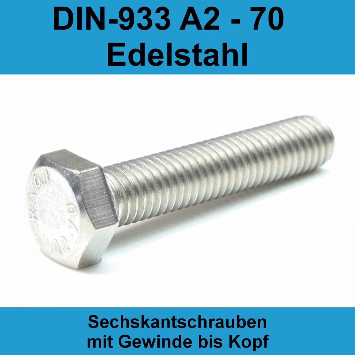 Sechskantschrauben mit Gewinde bis Kopf DIN 933 Edelstahl A2 M 8