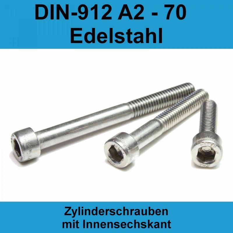 ISO4762 M 8x100 Edelstahl A2 Zylinderschraube mit Innensechskant DIN 912