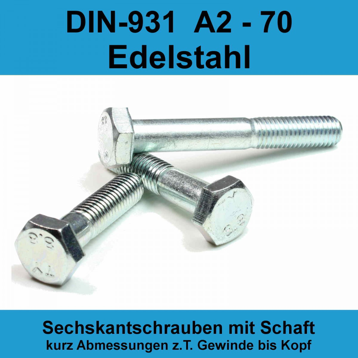 M8 DIN 931 Güte 8.8 10 Stk Sechskantschraube mit Schaft