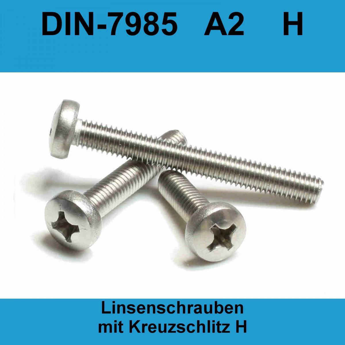 25 Stück Linsenkopf Kreuz DIN 7985 M3x50  EDELSTAHL A2 M3 x 50