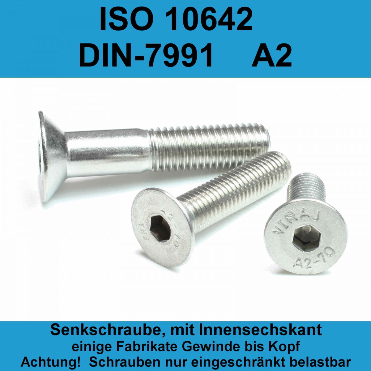 Senkkopfschrauben DIN 7991 M3//M4//M5//M6//M8//M10 Edelstahl V2A Innensechskant VA