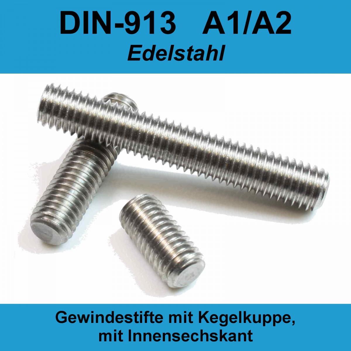 x10 M2x10 Gewindestifte Innensechskant Kegelkuppe Madenschrauben Edelstahl A2 DIN 913