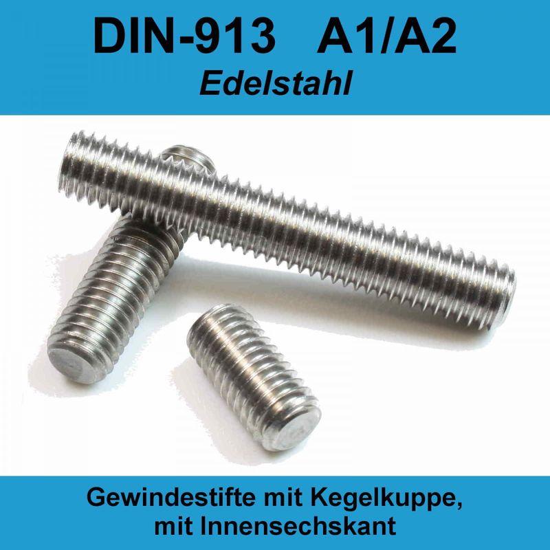 Kegelkuppe DIN 913 Edelstahl A2 1 St/ück Gewindestift M5 X 10 mit Innensechskant u