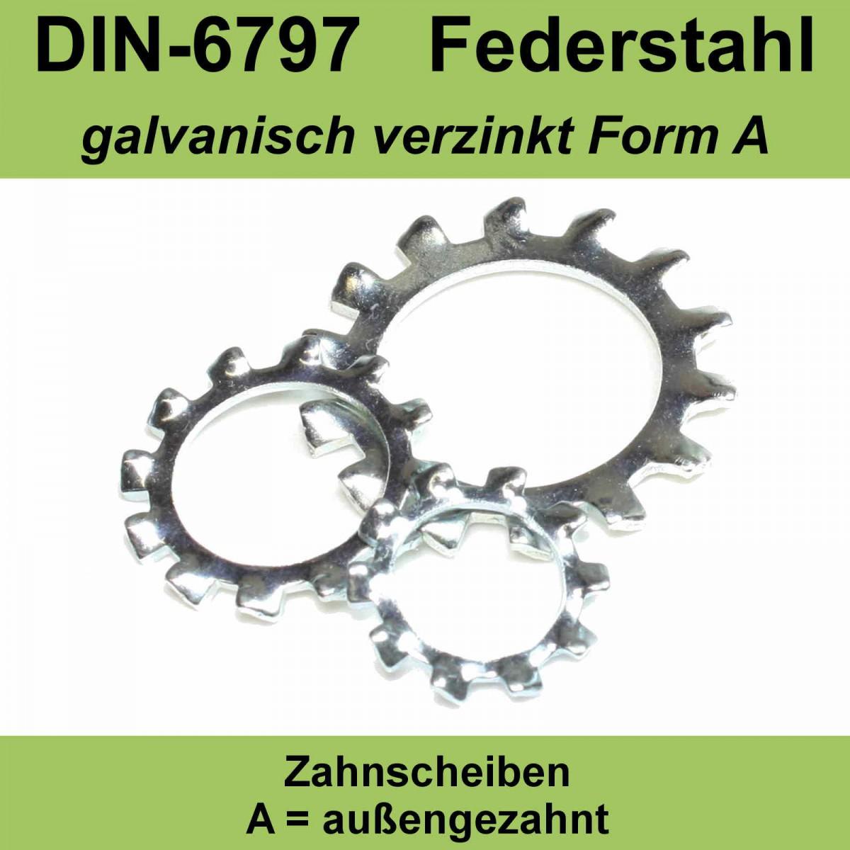 10,5 DIN 6797 Zahnscheiben A2 Edlestahl Form A außengezahnte AZ Federstahl f M10