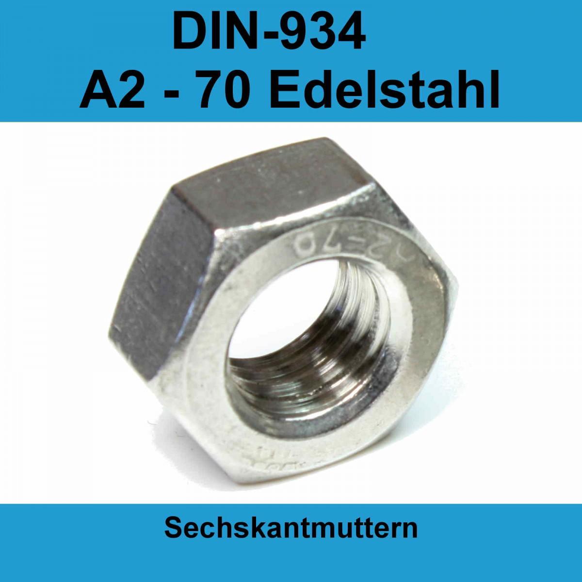 M 6 50X M6 Sechskantmuttern Edelstahl A2 DIN 934