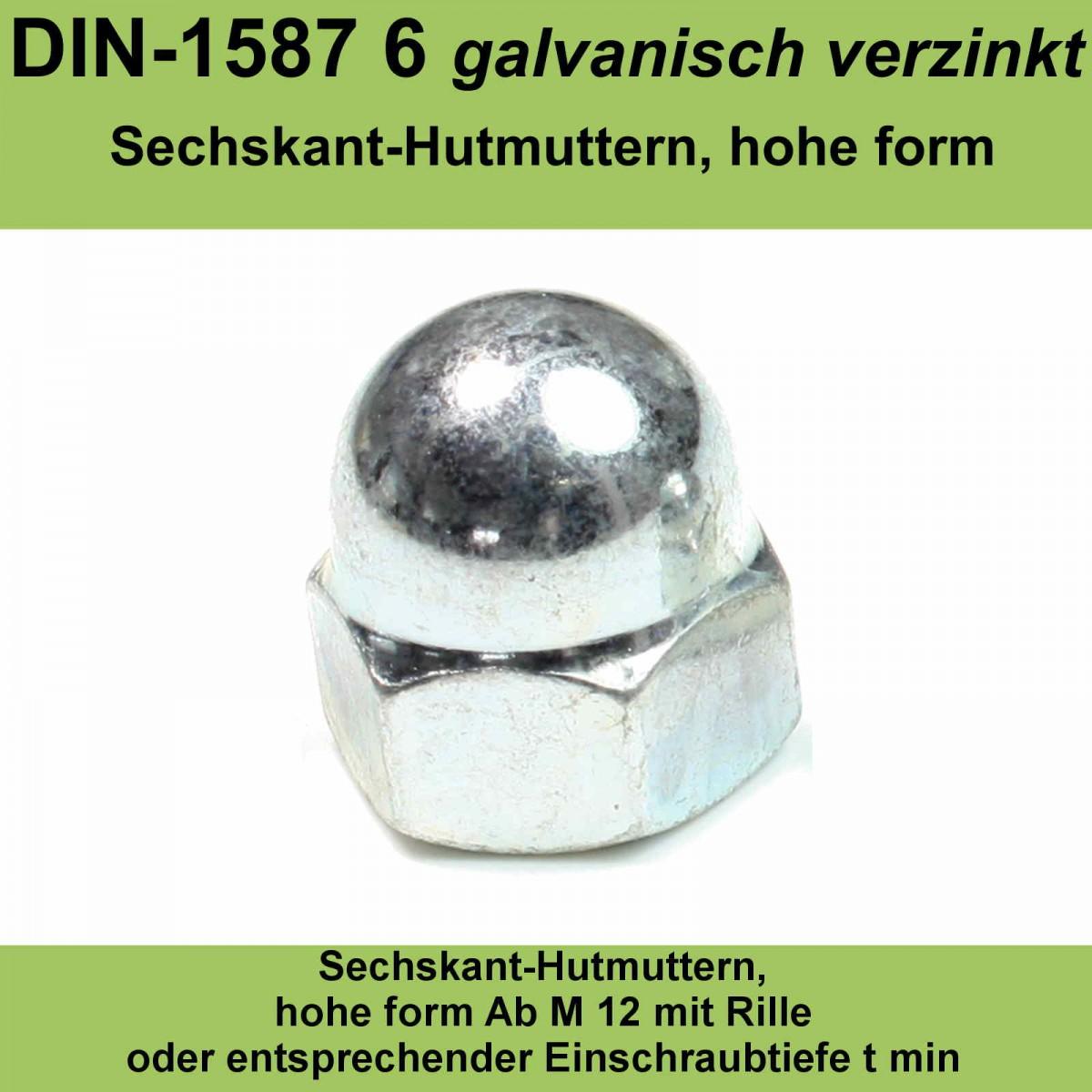 0125 Hutmuttern Hutmutter M4 Sechskant Kunststoff DIN1587 10 St/ück