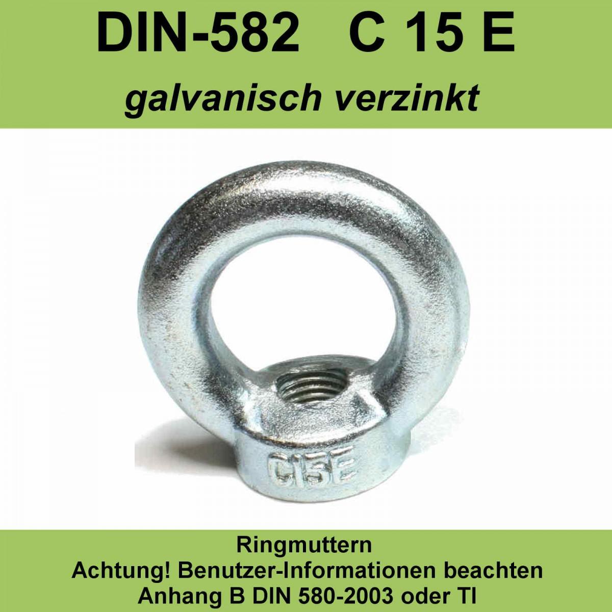 5x Ringmutter M8 DIN582 Galvanisch verzinkt Augenmutter Öse Transportöse NEU!!!!