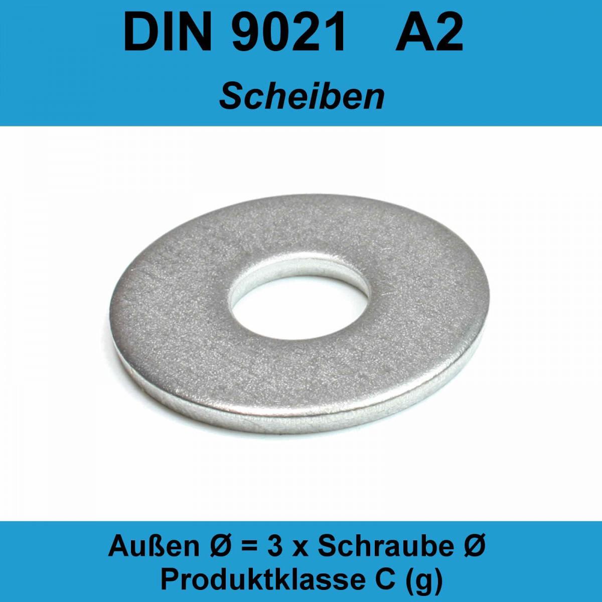 Beilagscheiben | M18 SC-Normteile V2A DIN 9021 | SC9021 rostfreier Edelstahl A2 10 St/ück Gro/ße Unterlegscheiben