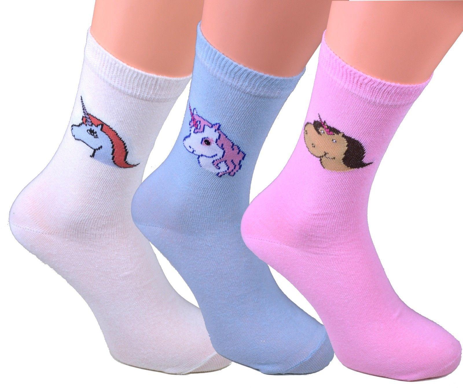 3 oder 6 Paar Kinder Mädchen Damen-Socken mit Einhorn in 3 ...