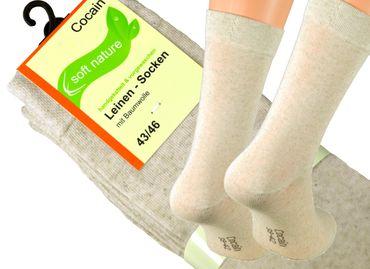 6, 9 oder 12 Paar Damen Herren Leinen Socken Strümpfe Leinen Socken mit Baumwolle, Marke Cocain  – Bild 3