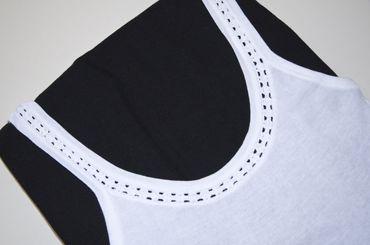 Unterhemd ohne Spitze mit Zierrand, weiß, 100% Baumwolle, trocknergeeignet, WOW – Bild 3