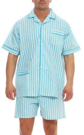 Kurzer Klassischer gewebter Pyjama Schlafanzug  – Bild 7