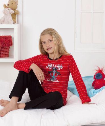 Mädchen Schlafanzug Pyjama Langarm mit Frontdruck und Ringel Grösse 128 - 164