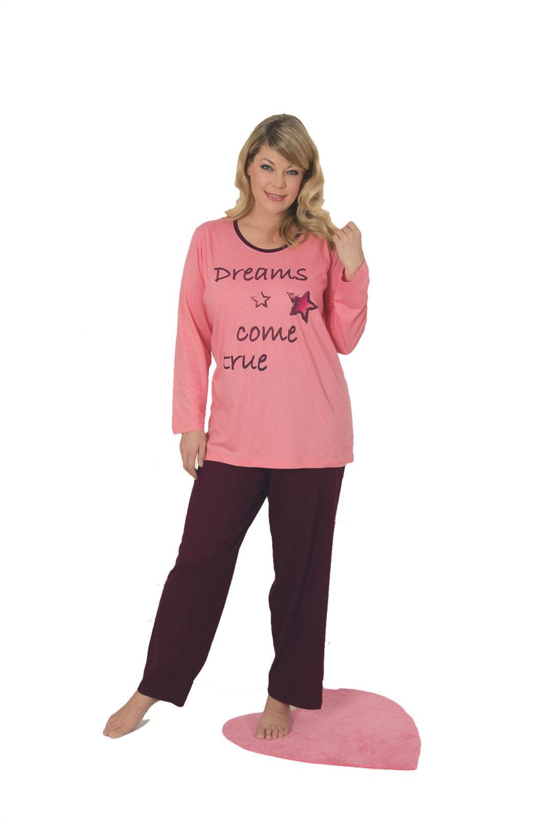 official photos ddfcb 52d59 Langer Schlafanzug für Damen Übergröße - Pyjama in 2 verschiedenen  Farbvarianten