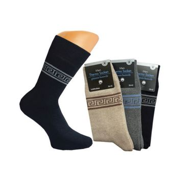 Warme Herren Thermo Socken Ornament Frotteesocken dicke Wintersocken Skisocken