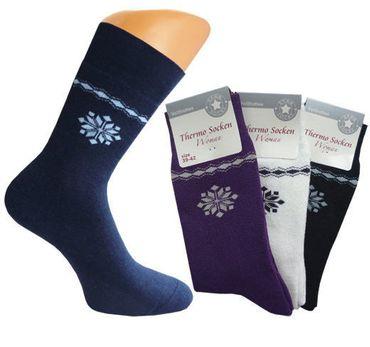 3 oder 6 Paar Damen Thermo Socken, Frottee-Socken mit Schneeflocke, Thermosocken – Bild 1