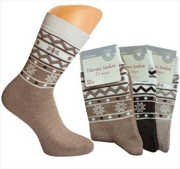 3 oder 6 Paar Damen Thermo-Socken, Frottee mit Norweger-Motiv,warme Thermosocke  – Bild 1