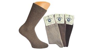 3 oder 6 Paar Damen Socken mit Wolle Komfort-Rand Bund ohne Gummi brauntöne – Bild 2
