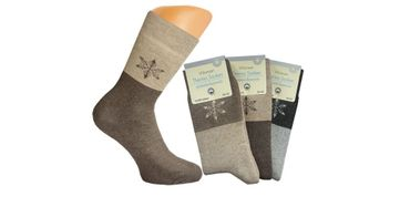 Damen Thermo-Socken Frottee Schneekristall Motiv warme Thermosocke, Homesocks