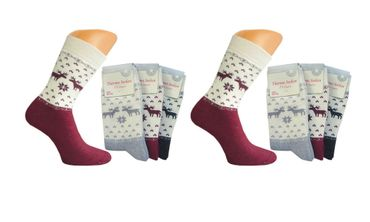 "3 oder 6 Paar warme Damen Thermo Socken, Vollfrottee, ""Rentier"", Homesocks, Top! – Bild 1"