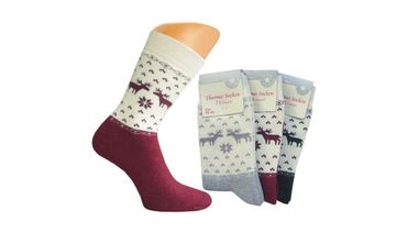 "3 oder 6 Paar warme Damen Thermo Socken, Vollfrottee, ""Rentier"", Homesocks, Top! – Bild 2"