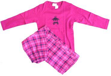 Mädchen Schlafanzug, langer Pyjama mit karierter Flanellhose, Oberteil uni pink