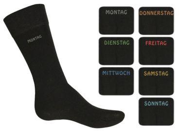 Damen & Herren Socken, schwarz mit einem Wochentag am Schaft, Gr. 35-38 bis 47/50  – Bild 1