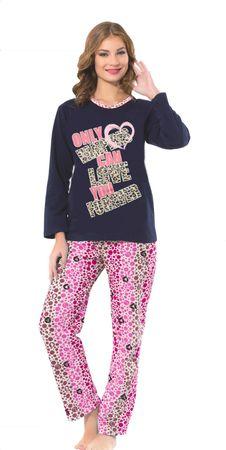 Langer,innen angerauter Damen-Schlafanzug mit Front Druck,dickes,warmes Molton  – Bild 2