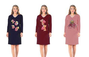 Modisches langes innen angerauhtes Sleepshirt für Damen mit Frontdruck, Molton – Bild 1