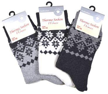 3 oder 6 Paar Damen warme Thermo-Socken Schneekristall Motiv Norweger-Muster