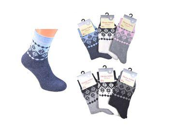 3 oder 6 Paar Damen warme Thermo-Socken Schneekristall Motiv Norweger-Muster  – Bild 3
