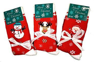 3 oder 6 Paar Damen warme Thermo-Socken Schneekristall Motiv Norweger-Muster  – Bild 5