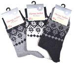 3 oder 6 Paar Damen warme Thermo-Socken Schneekristall Motiv Norweger-Muster  001