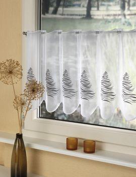 Bistrogardine, Kaffehausgardine  Weihnachtsbaum . Farbe: grau, Größe: 45x95 cm