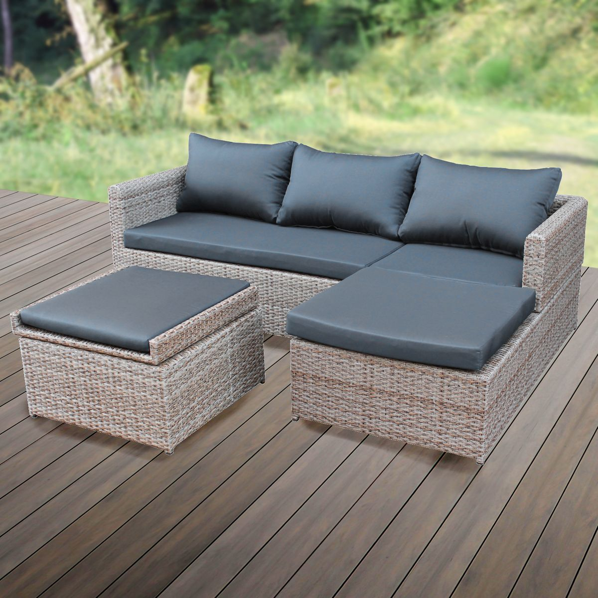 gartenm bel rattan lounge. Black Bedroom Furniture Sets. Home Design Ideas