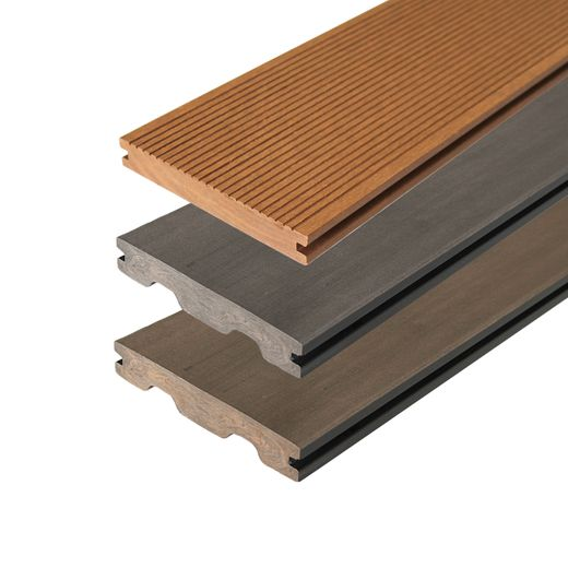 Muster BPC Terrassendielen Terrassenboden Premium WPC Bambus Dielen Grau Teak