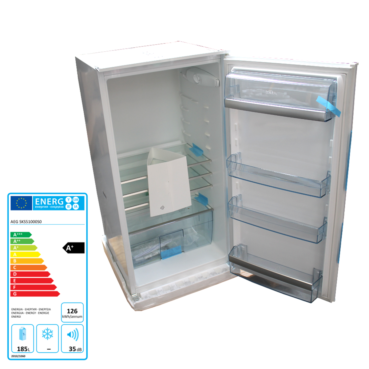 Einbau-Kühlschrank 185 Liter 126 kWh/Jahr weiß leise AEG Santo ...