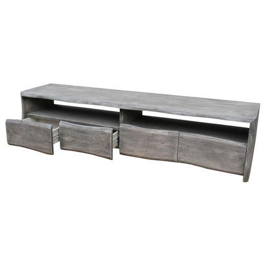 Fernsehtisch Lowboard Live-Edge 190 cm Akazie Grau Massiv 4 Schübe 2 Fächer