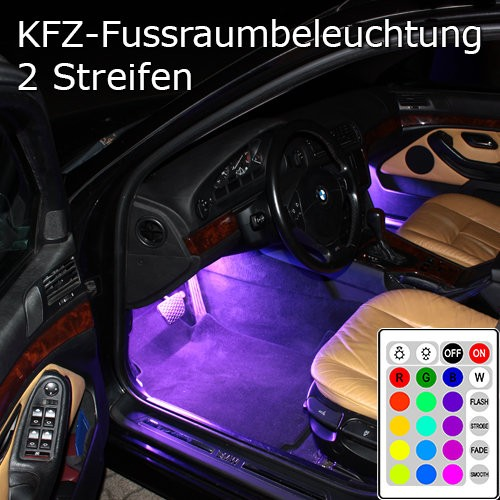 2er set rgb led kfz fussraumbeleuchtung innenraumbeleuchtung. Black Bedroom Furniture Sets. Home Design Ideas