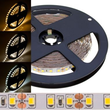 ECO 5m Rolle 14.400lm 12V weiß IP20 sehr helle SMD 2835 LED Streifen 120LEDs/m selbstklebend dimmbar