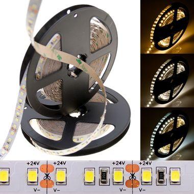 PREMIUM 5m Rolle 14.400lm 24V sehr helle SMD 2835 LED Streifen weiß 120LEDs/m selbstklebend IP20 dimmbar – Bild 1