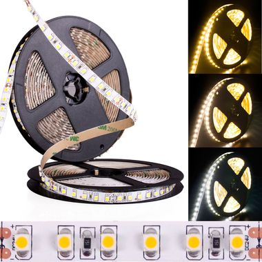 PREMIUM 5m Rolle 4.800lm weiß 24V IP20 120LEDs/m helle SMD 3528 LED Streifen selbstklebend dimmbar
