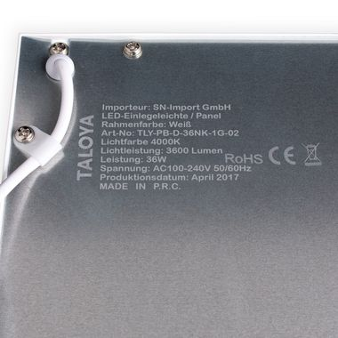 Taloya® 36W LED Panel 5 Jahre Garantie Ra90 4000K 62x62cm weißer Rahmen 80lm/W Deckenpanel – Bild 2