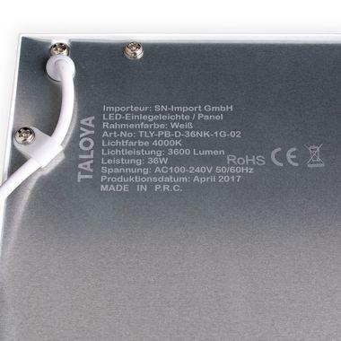 Taloya® 36W LED Panel dimmbar 5 Jahre Garantie 90Ra neutral-weiß 4000K 62x62cm Rahmen weiß 80lm/W – Bild 2