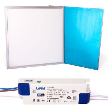 Taloya® 36W LED Panel flimmerfrei neutralweiß 4000K 62x62cm Rahmen silber 80lm/W Ra80