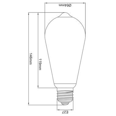 Taloya HX-6318 ST64 LED E27 Filament Leuchte EEK A+ Retro Classic Kolben ø 63 x 145 mm Lampe Glühbirne Ersatz  – Bild 2