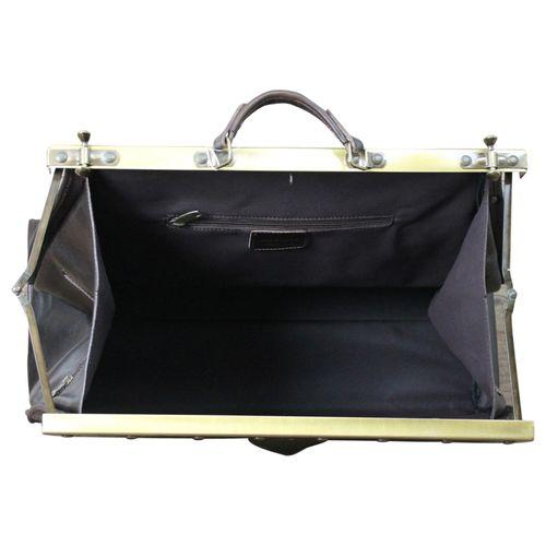 Made In Italy Reisetasche Vintage Traveller Serie Arzttasche Hebammentasche Bag Echt Leder Braun – Bild 13