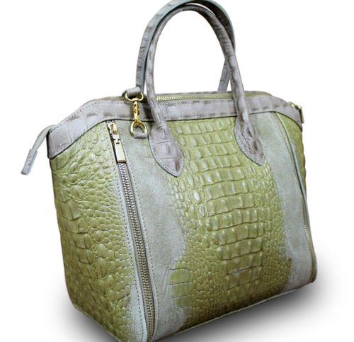 Made in Italy Luxus Damen Henkel Tasche Cube Leder Kroko Alligator Prägung Beige – Bild 1