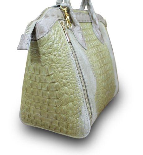 Made in Italy Luxus Damen Henkel Tasche Cube Leder Kroko Alligator Prägung Beige – Bild 3
