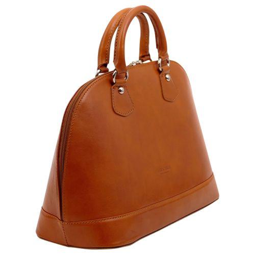 Made In Italy Damentasche Handtasche Henkeltasche Schultertasche Hobo Cube Bag Echt Leder  – Bild 3